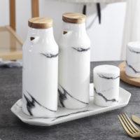 Керамические мраморные принадлежности посуда для кухни (перечница, солонка, бутылка для масла)