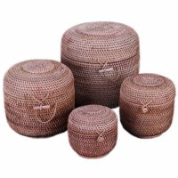 Плетеная коробка ящик с крышкой для хранения из ротанга (разные размеры)