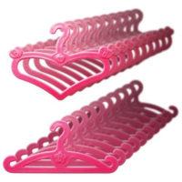 Розовые вешалки для кукольной одежды 20 шт.