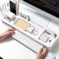 Пластиковая настольная полка органайзер для хранения канцелярии на рабочем столе