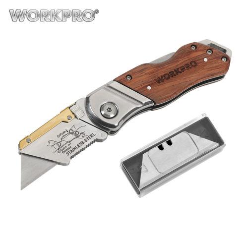 Складной строительный нож со сменными лезвиями Workpro