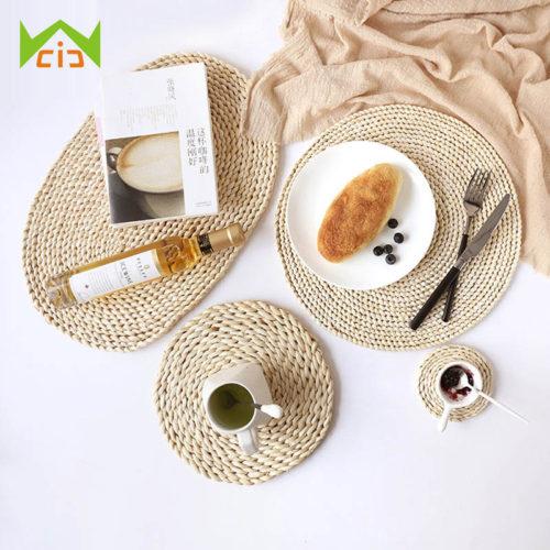 Круглые соломенные коврики подставки на стол (разные размеры)