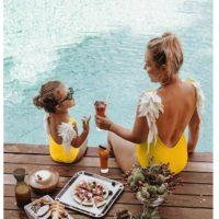 Слитные купальники с крыльями ангела для мамы и дочки