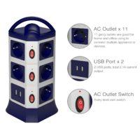 Сетевой фильтр в виде башни 2/3 этажа, 7/11 розеток, 2 USB, кабель 1.8 м
