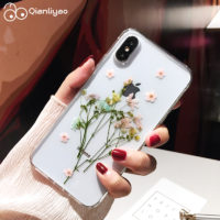 Силиконовый прозрачный чехол на айфон (iPhone) с настоящими высушенными цветами