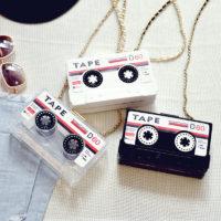 Прозрачный акриловый клатч сумка в виде кассеты на цепочке