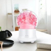 Ультразвуковой светодиодный увлажнитель воздуха ночник арома диффузор 100 мл для эфирных масел с цветами внутри