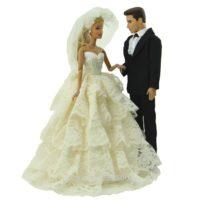 Свадебный наряд для Барби и Кена (платье, костюм и фата)