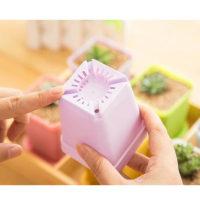 Маленький квадратный пластиковый цветочный горшок с поддоном для суккулентов