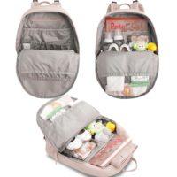 Небольшой рюкзак из кожзама для молодой мамы с пеленкой, креплением на коляску