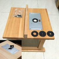 Алюминиевая пластина для фрезерного стола + 4 кольца-вставки для деревообработки