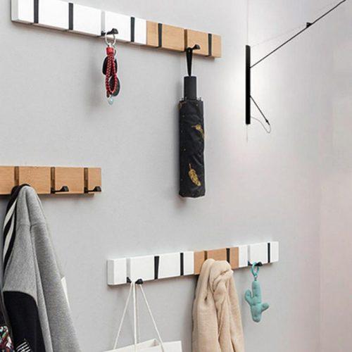 Настенная бамбуковая вешалка с выдвигающимися крючками