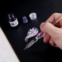 Стеклянная ручка с чернилами в подарочной упаковке