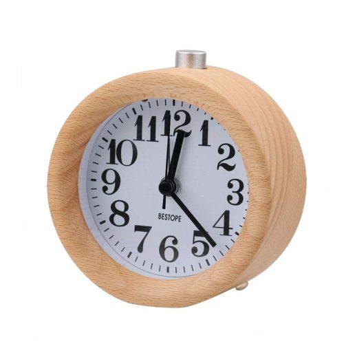 Круглые деревянные настольные часы будильник