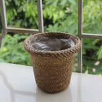 Плетеная декоративная корзина горшок для цветов (диаметр 12 см)