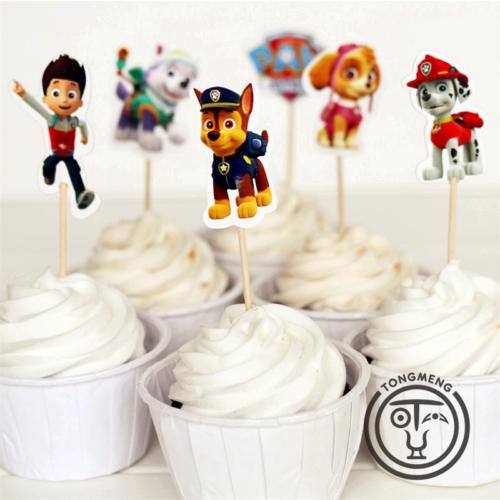 Украшения на детский праздник Щенячий патруль (топперы, свечи, баннер)