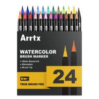 Arrtx набор маркеров с кисточкой на водной основе 24/48 шт.