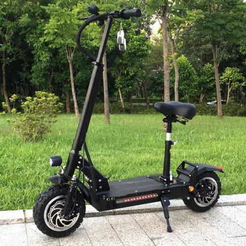 FLJ Водонепроницаемый мощный взрослый складной электросамокат с сиденьем 60 В / 3200 Вт (колеса 11 дюймов)