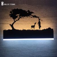 Черный светильник картина на стену Животные