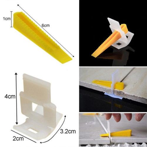 Клипсы и клинья для укладки плитки с помощью заготовок 200 шт