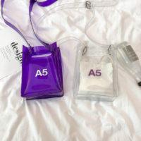 Женская прозрачная и фиолетовая сумка кроссбоди через плечо с надписью A4 и A5