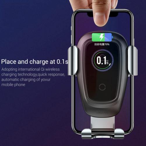 Baseus Qi Автомобильный универсальный держатель для телефона в воздуховод с беспроводной зарядкой