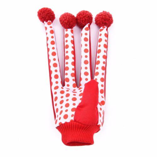 Перчатка-игрушка с длинными пальцами и помпонами для кошки