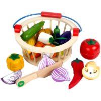 Детский деревянный набор для игр Корзина с магнитными фруктами