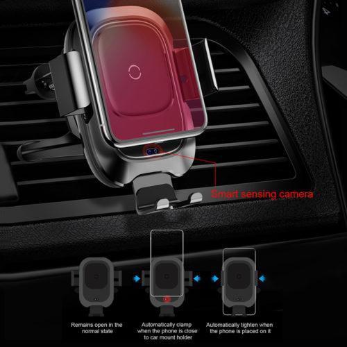 Baseus Qi Автомобильный держатель для телефона в воздуховод с беспроводной зарядкой