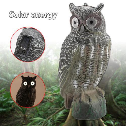 Садовая фигура Сова со светящимися глазами на солнечной батарее