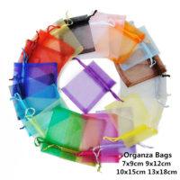 Подарочные мешочки из органзы 10 шт. (разные размеры и цвета)
