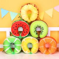 Дорожная мягкая подушка для шеи в виде ярких фруктов