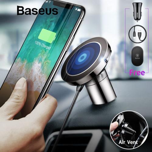 Baseus Magnetic Phone Holder Qi Автомобильный универсальный магнитный держатель для телефона в воздуховод или на приборную панель с беспроводной зарядкой