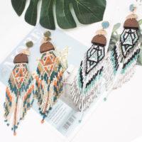 Висячие серьги из бисера в стиле бохо