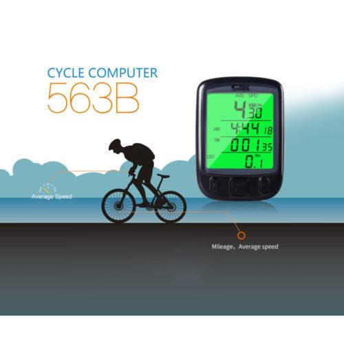 Sunding SD 563B водонепроницаемый велокомпьютер с ЖК-дисплеем и зеленой подсветкой