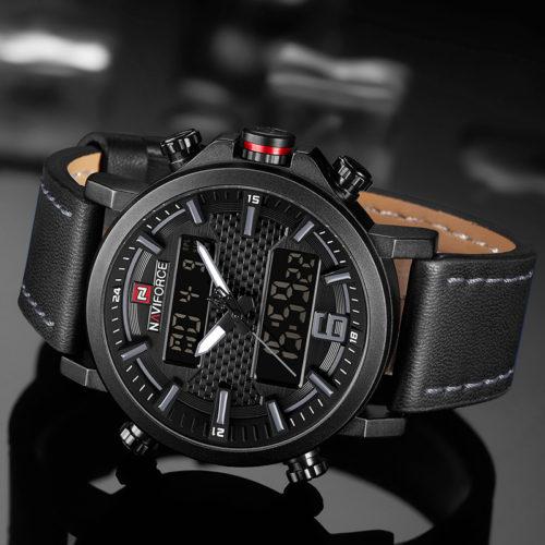 NAVIFORCE мужские водонепроницаемые кварцевые часы на кожаном ремешке
