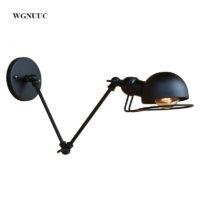 Металлический черный настенный светильник с регулируемой ручкой в стиле лофт