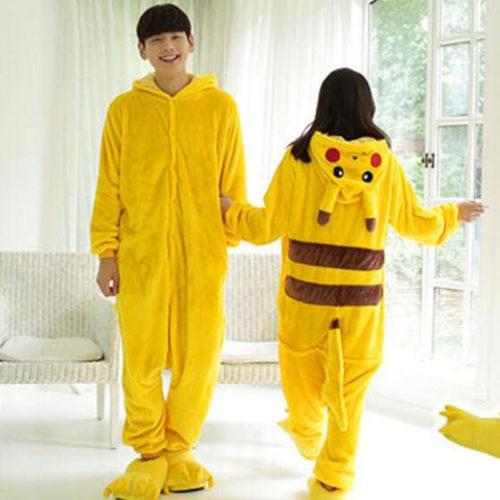 Кигуруми мягкая желтая пижама с капюшоном в виде Пикачу (для взрослых и детей)