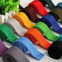 Вязаный мужской галстук (однотонный или в полоску) 5,5 см