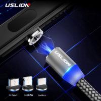 Магнитный светодиодный кабель 2A для зарядки USLION (microUSB / type-c / lightning)