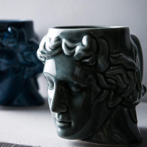 Керамическая кружка чашка в виде головы Давида
