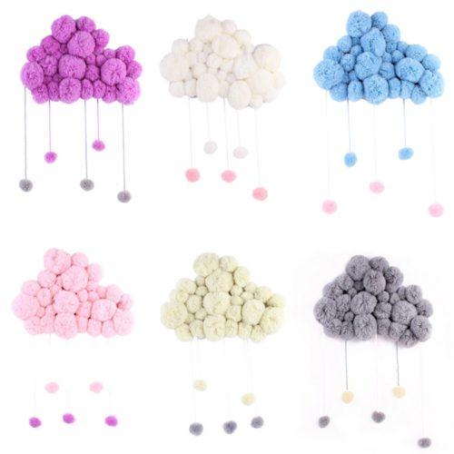 Пушистое облако с каплями на стену в детскую комнату