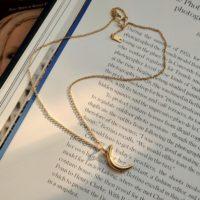 Серебряная подвеска на цепочке Полумесяц под золото