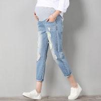 Голубые рваные джинсы для беременных