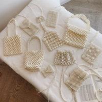 Жемчужные белые сумочки клатчи с ручками или через плечо