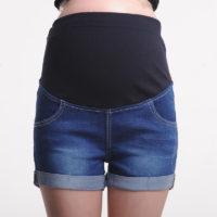 Джинсовые синие короткие шорты для беременных