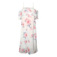 Летнее белое платье с открытыми плечами и розовыми цветами для беременных женщин