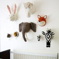 Мягкие головы животных в детскую комнату на стену