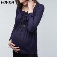 Легкая блуза с длинным рукавом, кружевом и шнуровкой для беременных