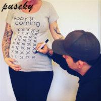 Футболка для беременных с календарем 42-х недель и надписью Baby is coming
